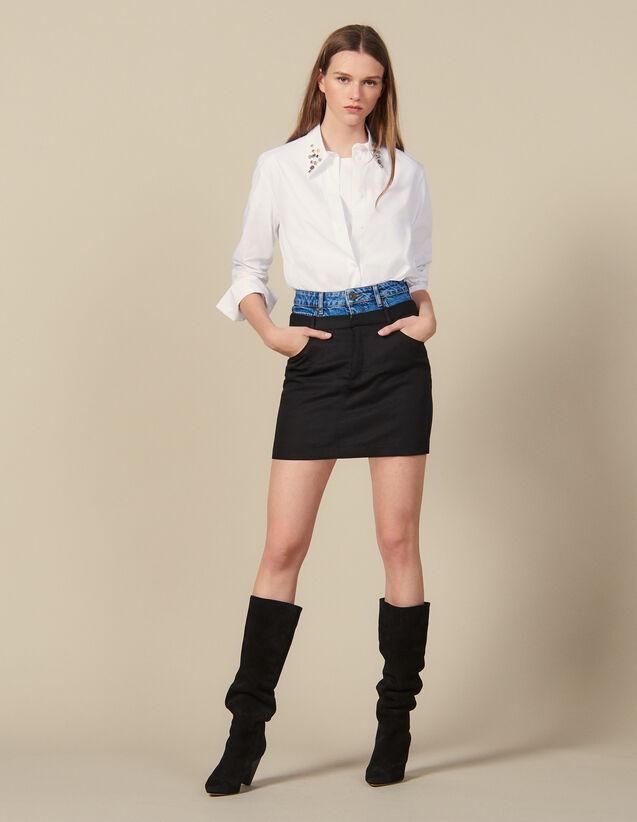 Falda corta efecto trampantojo : Faldas & Shorts color Negro