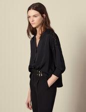 Blusa con inserto de guipur : Tops & Camisas color Negro