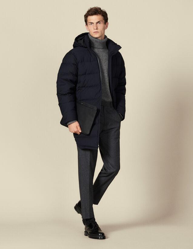 Plumífero largo con capucha : Trenchs & Abrigos color Marino