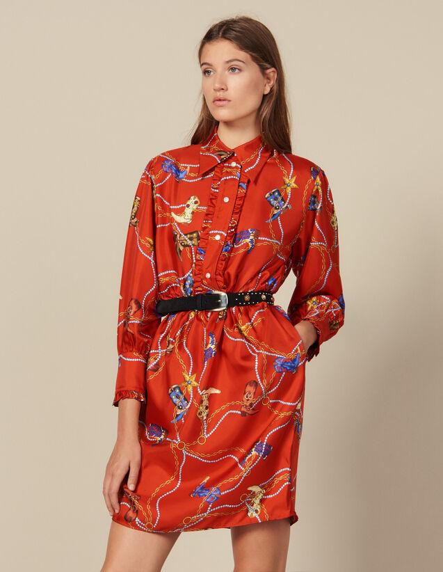 Vestido Corto De Twill De Seda Estampado : Vestidos color Rojo