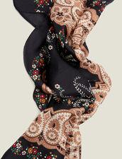 Fular Tipo Bandana De Seda Negra : Bufandas color Negro