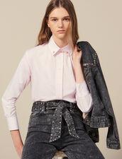 Camisa Con Botones Joya En El Cuello : -50% color Rosa