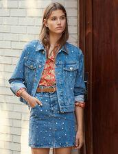 Chaqueta Vaquera Adornada Con Tachuelas : Novedades color Bleu jean