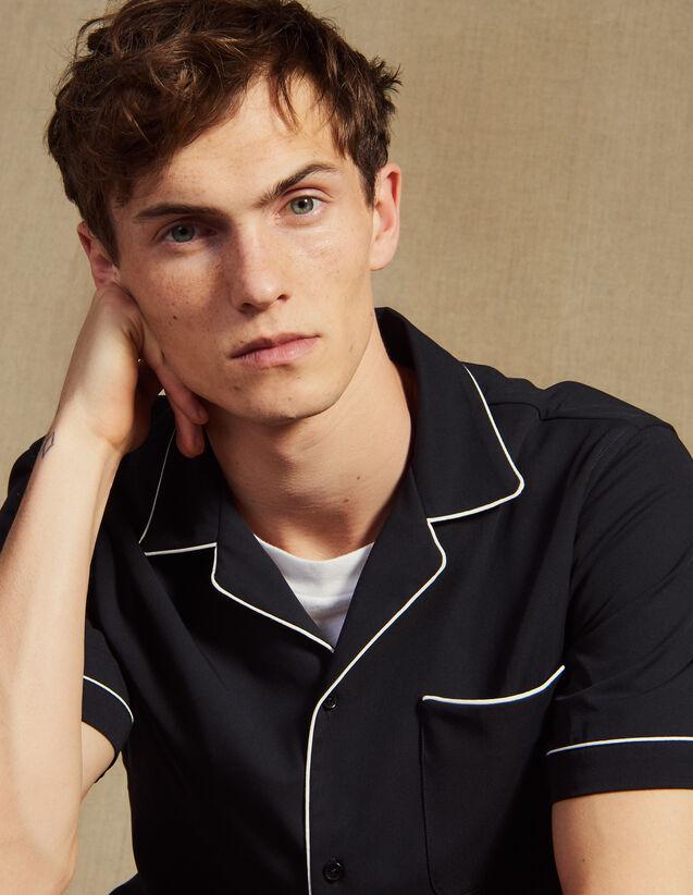Camisa Estilo Pijama En Diagonal : Camisas color Marino