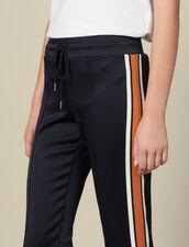 Pantalón De Jogging De Punto Con Rayas : Pantalones color Marino