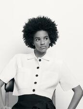 Cárdigan corto tipo camisa de punto : Jerseys & Cárdigans color Blanco