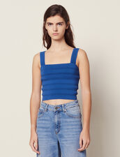 Top Corto De Punto : null color Bleu jean