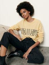Jersey de lana y cachemira con mensaje : Jerseys & Cárdigans color Amarillo