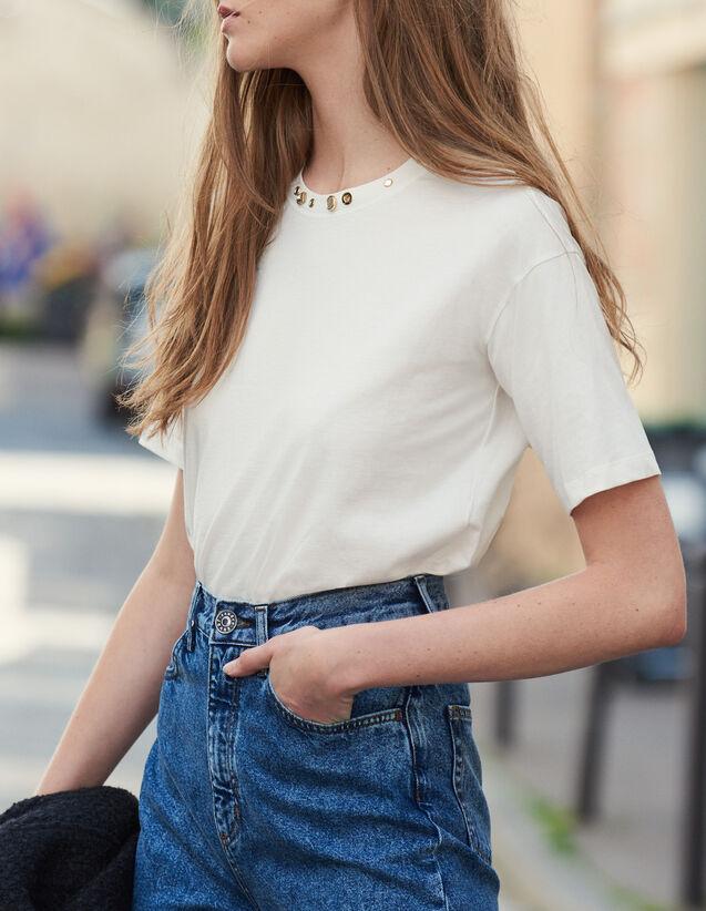 Camiseta Con Cuello Con Tachuelas : Novedades color Crudo
