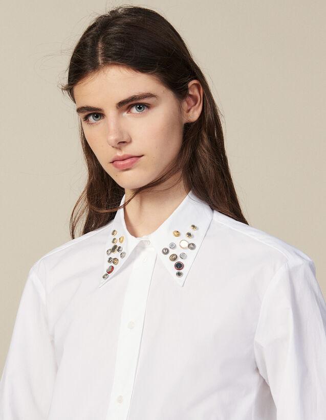 Camisa Asimétrica Adornada Con Tachuelas : Toda la Ropa color Blanco