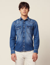 Camisa De Tejido Denim Desteñido : SOLDES-CH-HSelection-PAP&ACCESS-2DEM color Blue Vintage - Denim