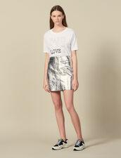 Camiseta De Algodón Con Inscripciones : Novedades color Blanco