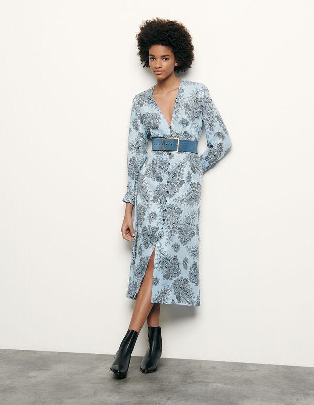 Vestido midi de mezcla de seda estampada : Nueva Colección de Verano color Azul