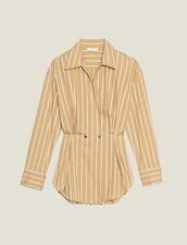 Camisa De Rayas De Manga Larga : null color Beige