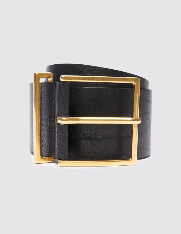 Cinturón ancho de piel : Cinturones color Negro