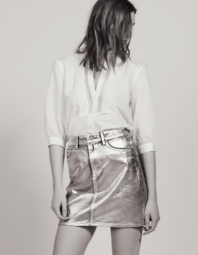 Falda Vaquera Revestida De Plateado : Faldas & Shorts color Plata