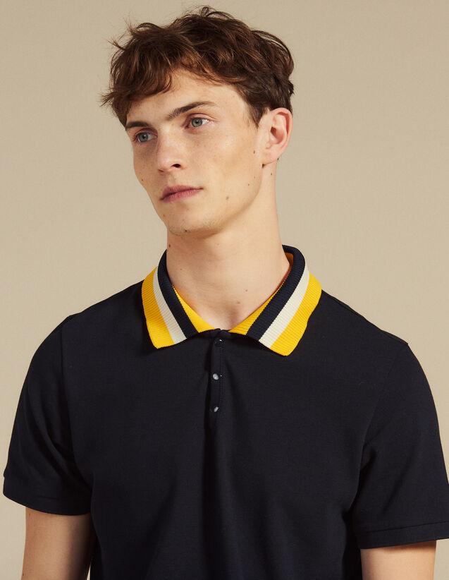 Polo De Algodón Con Cuello Varsity : Camisetas & Polos color Blanco