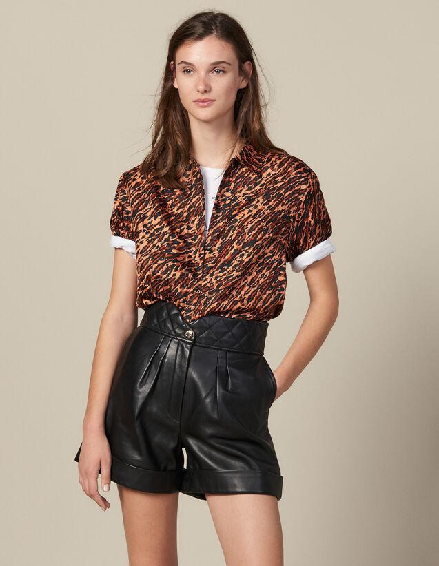 Short De Piel Con Cintura Acolchada : Faldas & Shorts color Negro