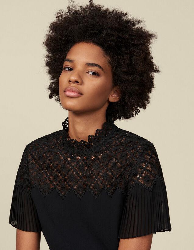 Top con un inserto de guipur : Tops & Camisas color Negro