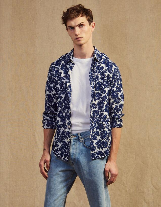 Camisa Fluida Con Estampado Floral : Camisas color Marino