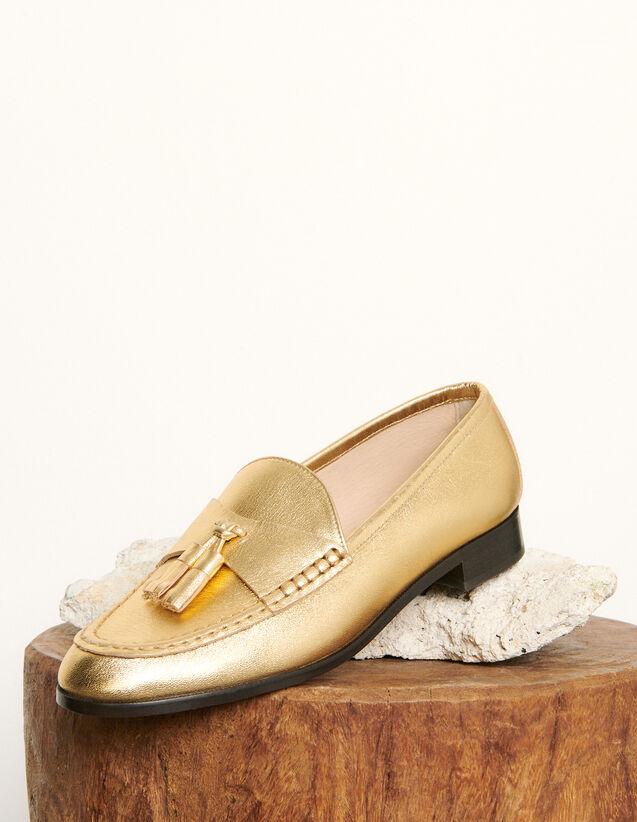 Mocasines de piel metalizada : Todos Zapatos color Oro