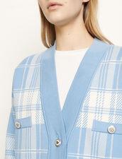 Cárdigan oversize de cuadros : Jerseys & Cárdigans color Ciel