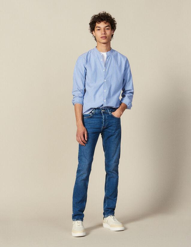 Camisa De Rayas Con Cuello Mao : Colección de Invierno color Azul/Blanco