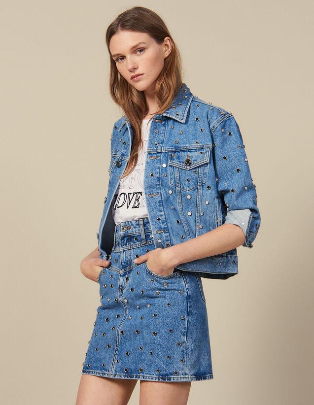 Falda Vaquera Corta Con Tachuelas : Novedades color Bleu jean