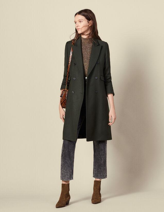 Abrigo largo de lana : Abrigos color Caqui