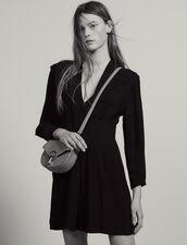 Vestido Corto Fluido, Adorno De Pliegues : null color Negro