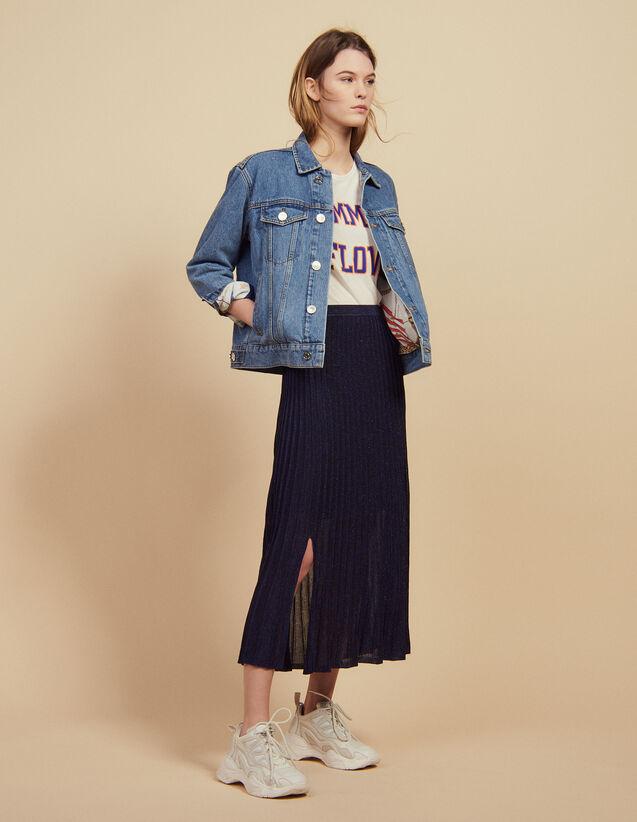 Falda Larga Plisada De Punto : Faldas & Shorts color Oro
