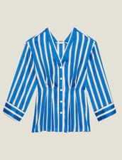 Camisa De Rayas Con Botones Automáticos : Camisa estampada color Azul