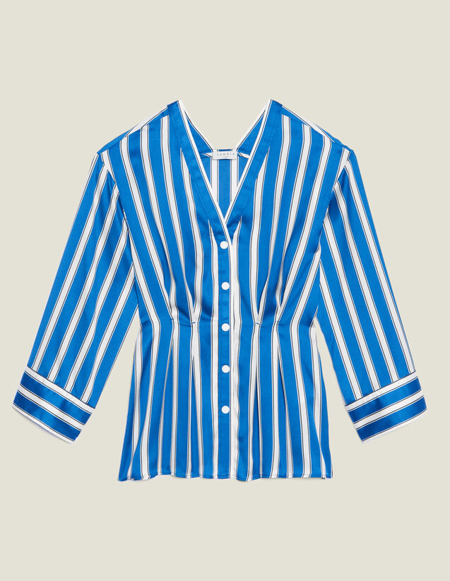 Camisa De Rayas Con Botones Automáticos : null color Azul