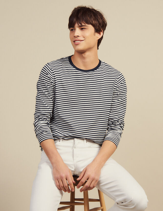 Camiseta Marinera De Manga Larga : Camisetas & Polos color Marino/Blanco
