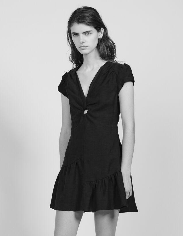 Vestido Corto Con Gran Escote : null color Negro