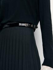 Falda larga plisada de corte cruzado : Faldas & Shorts color Negro