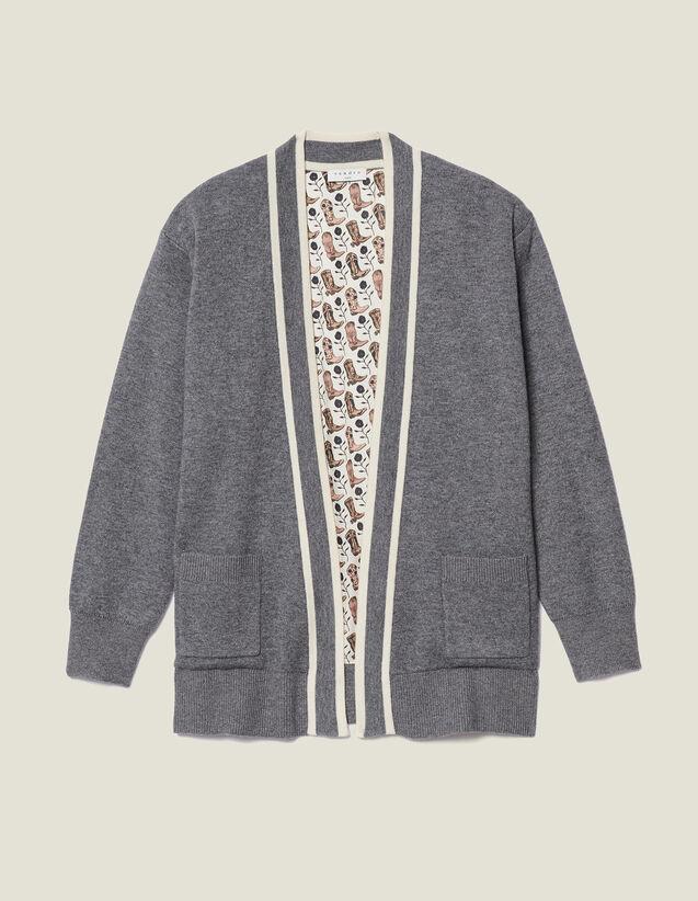 Cárdigan con forro estampado : Jerseys & Cárdigans color Gris