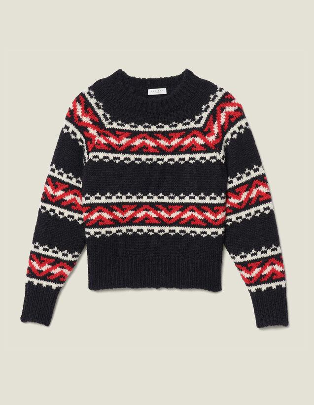 Jersey de motivos geométricos : Jerseys & Cárdigans color Rouge/Noir/Ecru
