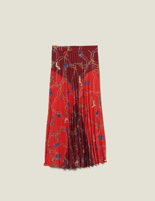 Falda Larga Plisada Y Estampada : FBlackFriday-FR-FSelection-Jupes&Shorts color Rojo