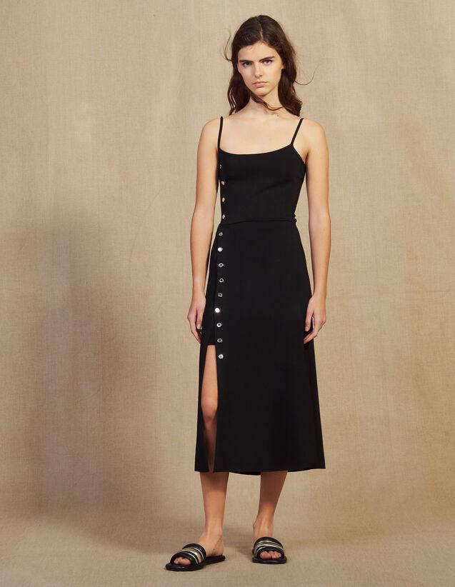 Vestido Midi De Punto Con Tirantes Finos : Vestidos color Negro