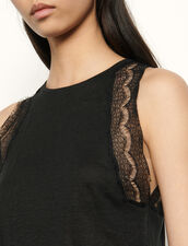 Camiseta de lino bordada de encaje : Camisetas color Negro