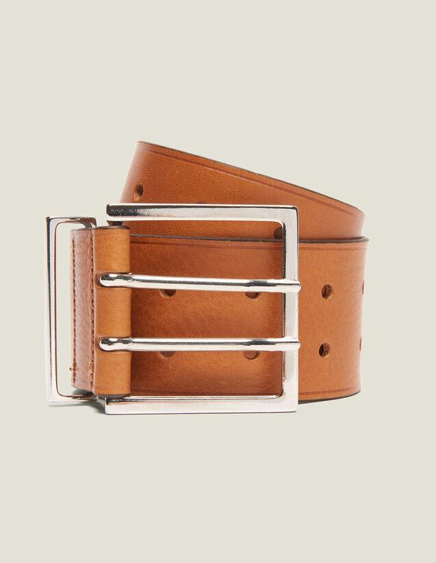 Cinturón Ancho De Piel : Cinturones color Curcuma
