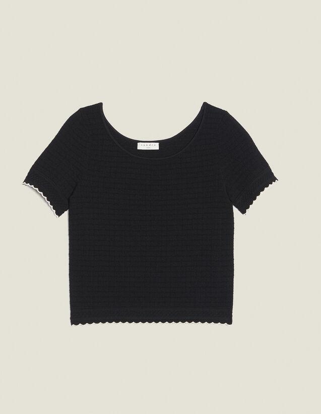 Top De Punto De Manga Corta : Tops & Camisas color Negro