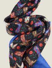 Fular de seda, estampado mini de botines : Toda la colección de Invierno color Azul