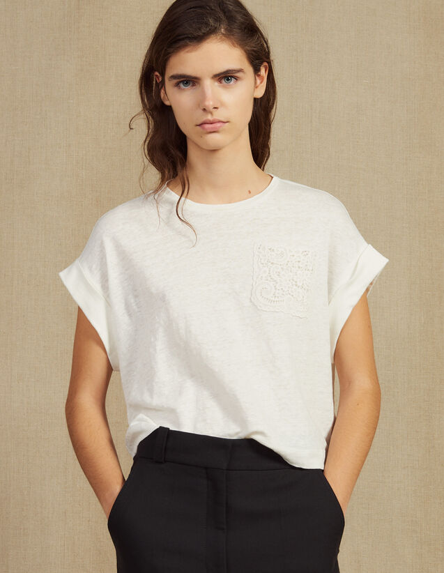 Camiseta De Lino Corta : Camisetas color Crudo