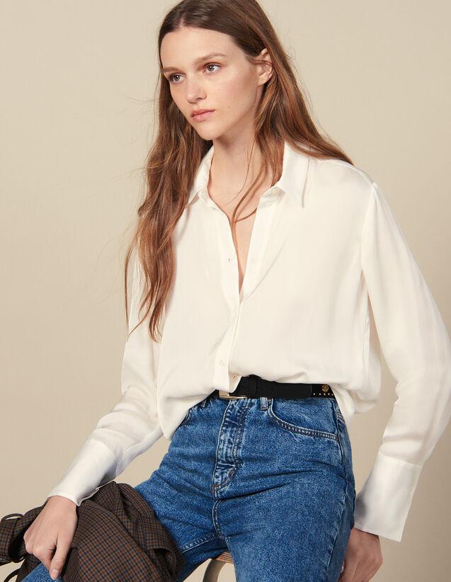 Camisa Fluida Con Puños Anchos : Tops & Camisas color Crudo