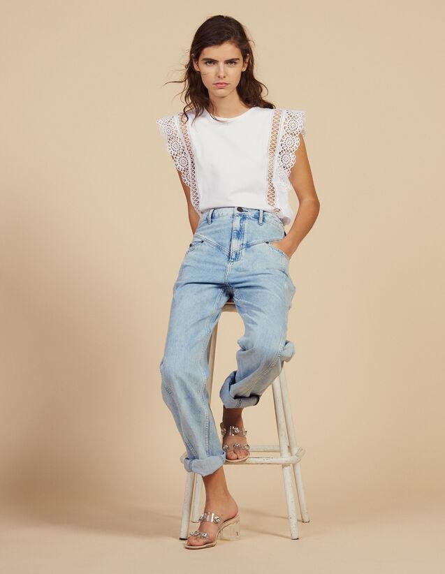 Camiseta Con Pasamanos De Encaje : Camisetas color Blanco