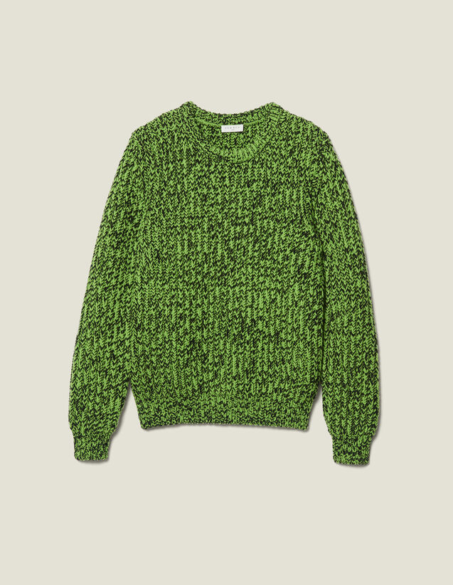 Jersey De Punto De Hilo Mouliné : Jerseys & Cárdigans color Vert/Noir