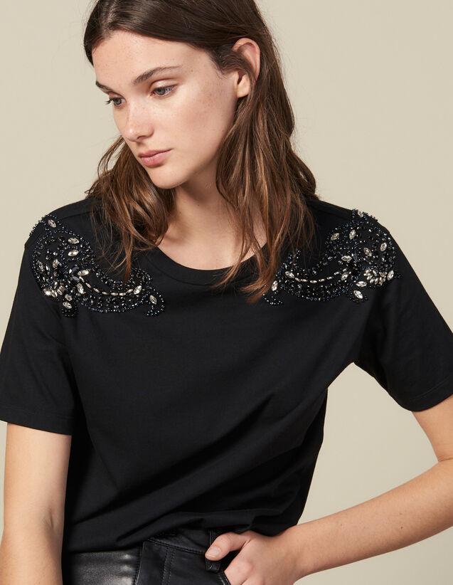 Camiseta Bordada En Los Hombros : Camisetas color Negro