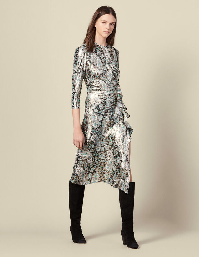 Vestido largo drapeado, jacquard lúrex : Vestidos color Multicolor